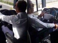 Otobüs Şoförünün Araç Kullanırken Selfie Çekmesi