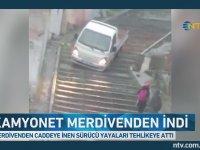 Yol Yerine Merdivenleri Seçen Şoför - İstanbul