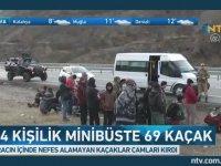 14 Kişilik Minibüsten 69 Kaçak Çıkması