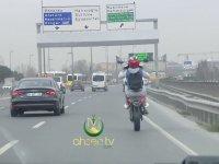 Tek Tekerle E-5'i Karıştıran Motosikletli