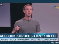 Mark Zuckerberg'in Gazetelere İlan Vererek Özür Dilemesi