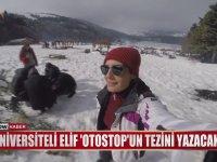 Üniversiteli Elif Otostop'un Tezini Yapması