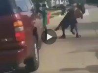 Polisi Amerikan Güreşçisi Gibi Yere Çakan Siyahi Eleman