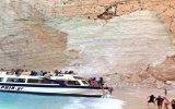 Navagio Plajında Meydana Gelen Toprak Kayması  Yunanistan