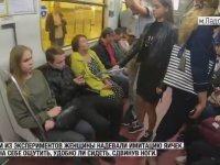 Bacak Ayırarak Oturan Erkekleri Protesto Eden Kadın