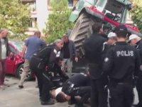 Traktör ile İsrail Büyükelçiliği'ne Saldırmak İsteyen Vatandaş