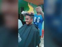 Saçı Yakarak Tıraş Eden Berber