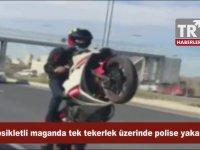Tek Teker Yaparken Polise Yakalanan Motosikletli