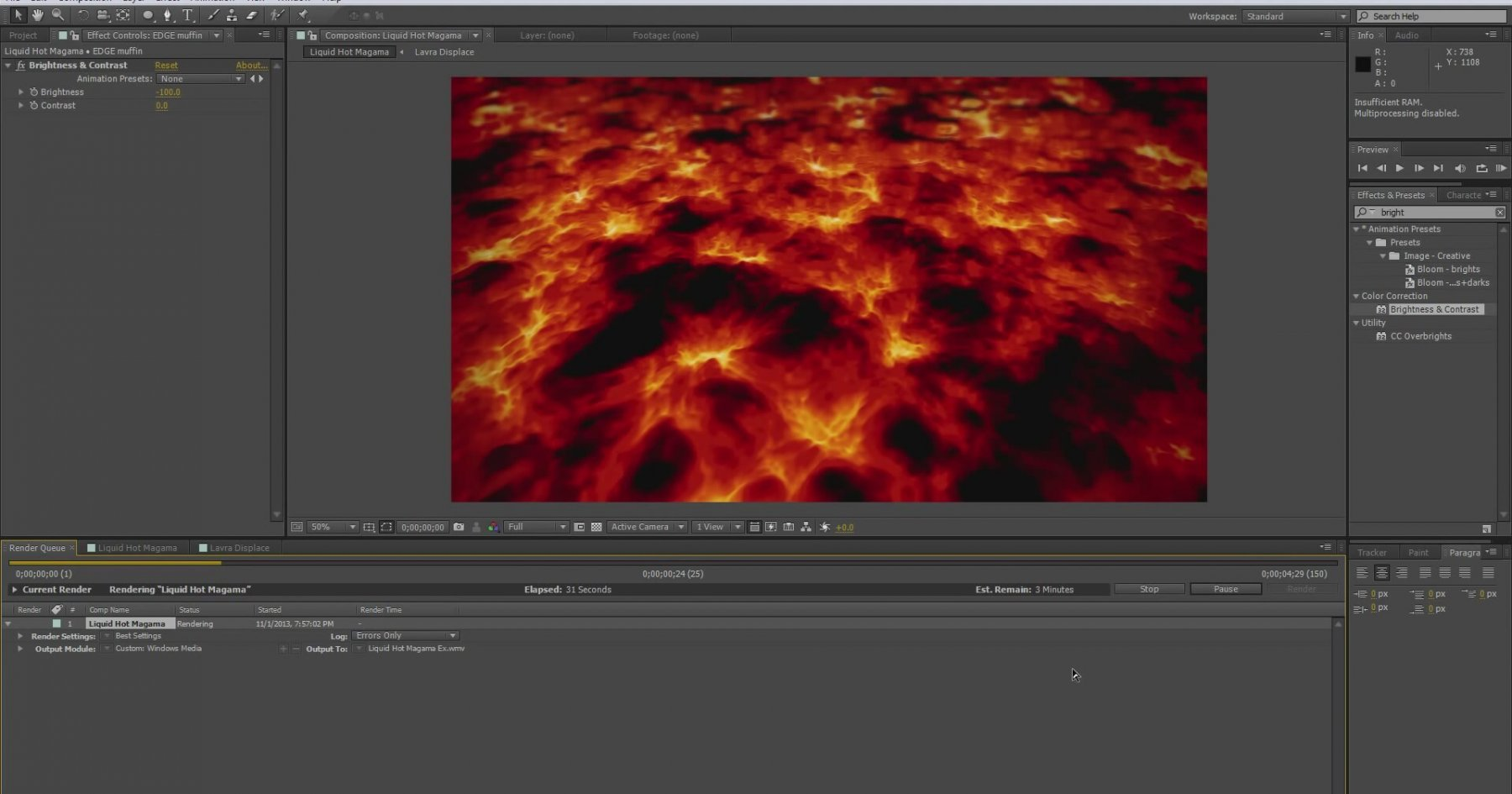 3d lava animationcreation after effects tutorial for Habitacion 3d after effects