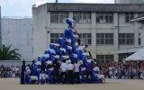 10 Katlı insan Piramidi Yıkılması