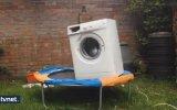 Trambolin Üzerinde Çamaşır Makinası Çalıştırılırsa