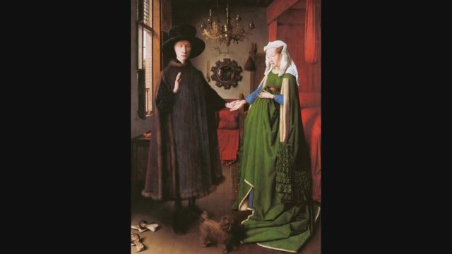 an analysis of the arnolfini portrait by jan van eyck Jan van eyck, portrait of giovanni ()arnolfini and his wife jan van eyck's portrait of giovanni ()arnolfini and his wife in the national gallery london is one of the most important works of the early renaissance: the first full-length double portrait in the west, one of the earliest works in oil, and more.