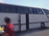 G.Saraylıların Beşiktaş Otobüsüne Saldırması