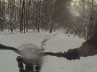 Karlı Ormanda Bisiklet Yarışı Yapmak