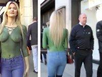 Sokakta Vücut Boyasıyla Üstsüz Gezen Kadın