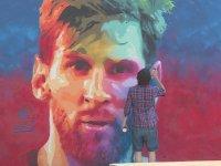 Barcelona Sokaklarında Lionel Messi Graffitisi