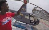 Harlem Globetrotters'ın Yıldızı Bull Bullard'ın Helikopterden Basket Atması