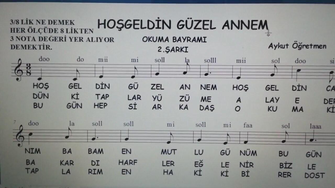 Hoş Geldin Güzel Annem 2şarkı Okuma Bayramı şenliği şarkı Sözü Ve