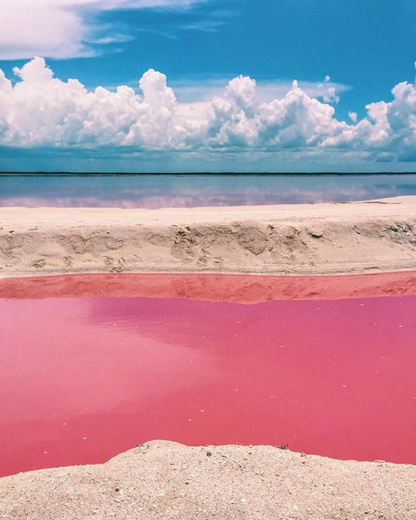 Meksika'da Pembe Rengiyle Büyüleyici Bir Göl