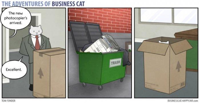 Bir İş Kedisinin Günlük Yaşamını Anlatan 17 Komik Karikatür