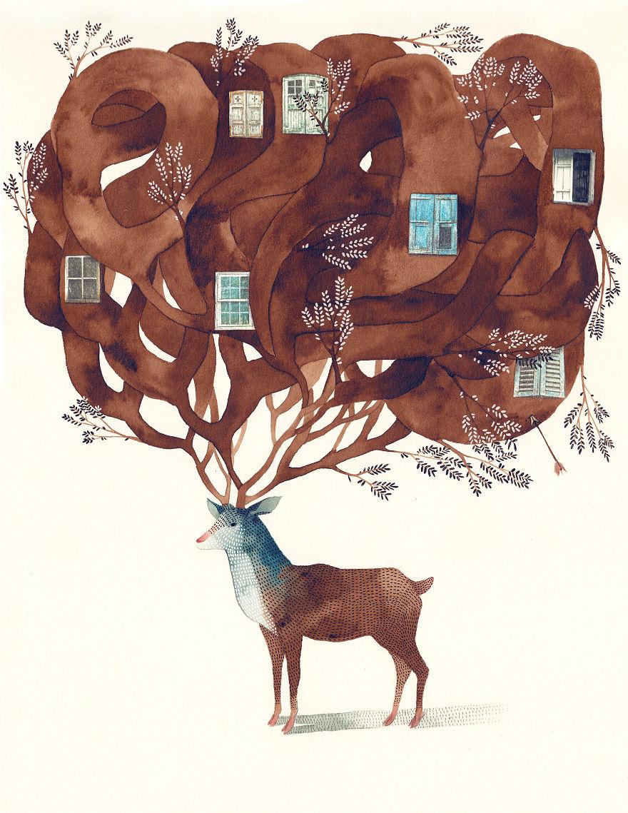 Orman ve Denizin Renklerini Tabloda Birleştiren Sanatçı
