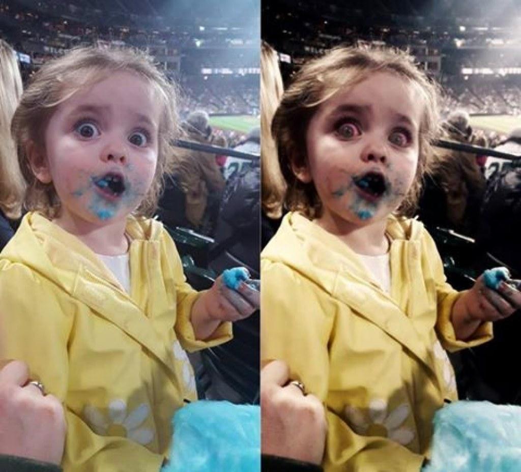 Hayatında İlk Defa Pamuk Şeker Yiyen Tatlı Kızın Verdiği Tepkiye Yapılan Photoshop'lar