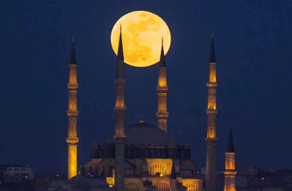 edirne, türkiye, Süper Kanlı Mavi Ay Tutulması