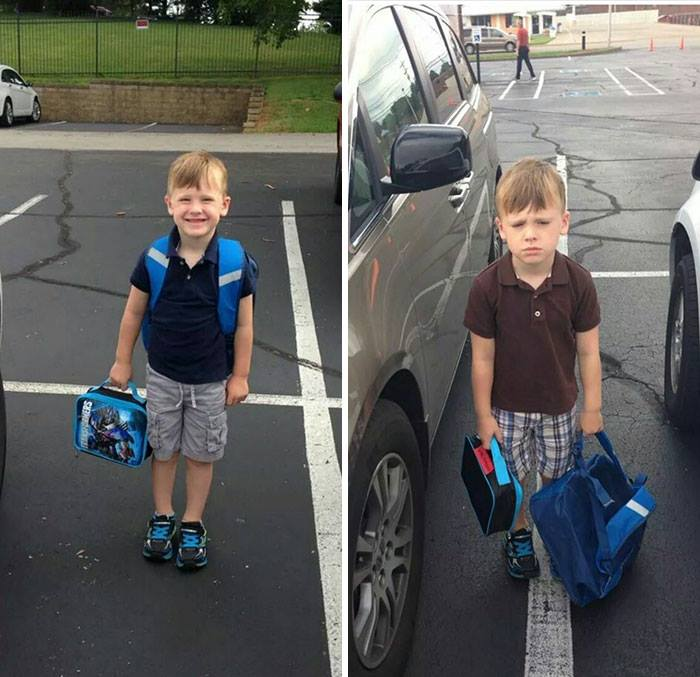 İlkokulun İlk Günü Bitti Ama Ben de Bittim Diyen Çocuklar