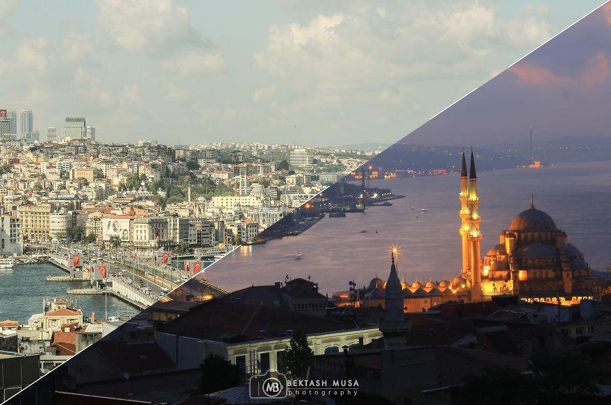 İstanbul'un Gecesiyle Gündüzünü Birleştiren Fotoğrafçı