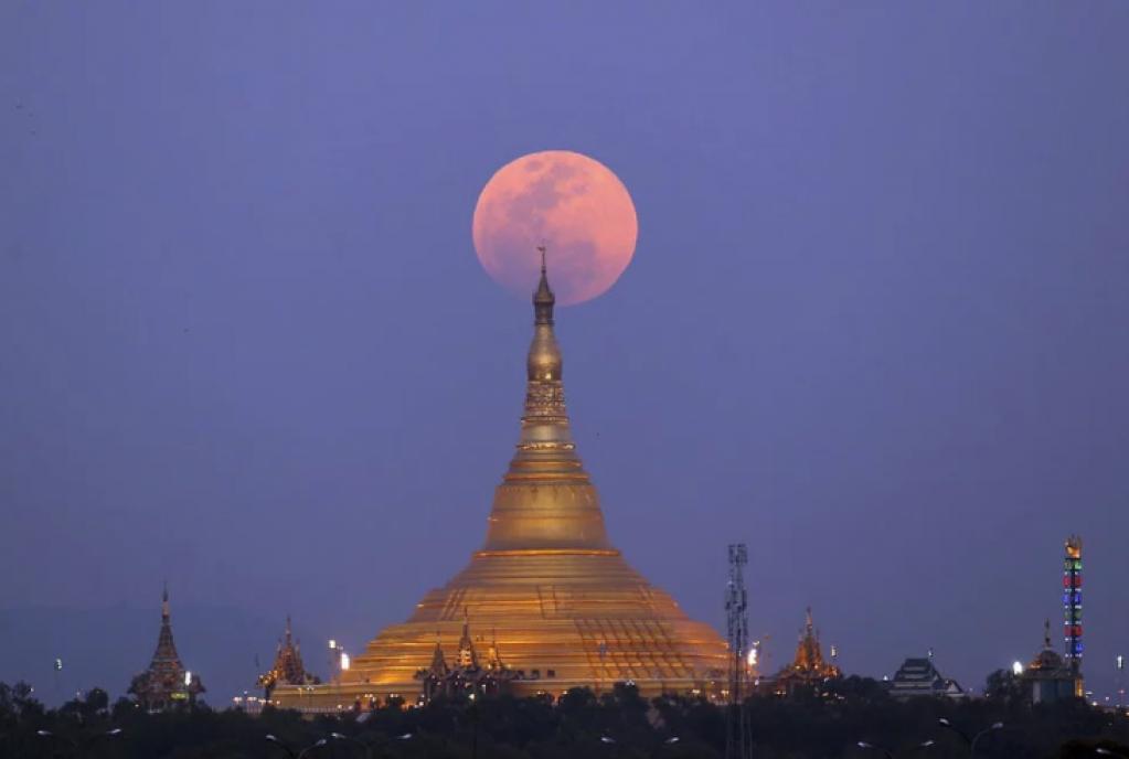 myanmar, Süper Kanlı Mavi Ay Tutulması