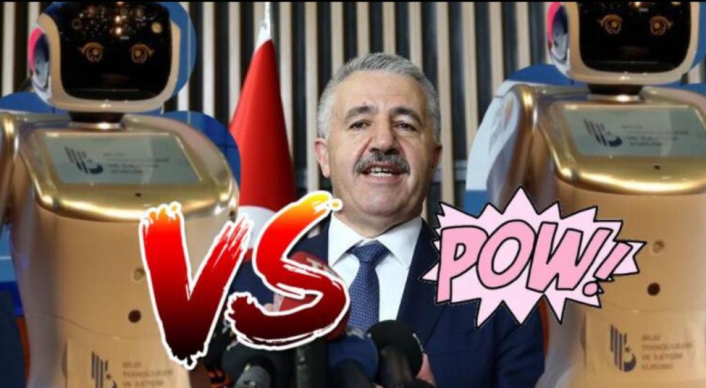 Bakan Ahmet Arslan, Robot Sanbot'la Tartıştı!