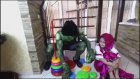 Learn Colors with Masha Hulk for Kids IRL Masha's Stacking Ring Toy was Stolen by Hulk
