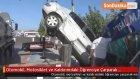 Otomobil, Motosiklet ve Kaldırımdaki Öğrenciye Çarparak Markete Girdi