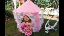 Pembe Tül Çadırda Bahçede Piknik Yapıyoruz.elif Maşa Ve Lala Bebekte Var.eğlenceli Çocuk Videosu