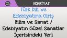 Türk Dili ve Edebiyatına Giriş - Bilim ve Sanat / Edebiyatın Güzel Sanatlar İçerisindeki Yeri