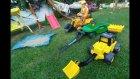 Kepçeli Ekskavatör İnşaat İş Makinası İle Bahçeye Kum Havuzu Yapıyoruz.eğlenceli Çocuk Videosu