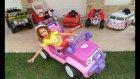 Akülü Arabalar Yarışıyor Challenge.prenses Jeep, Yeşil Jeep, Pembe Otobüs, Atv, Fayton