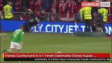 İrlanda Cumhuriyeti'ni 5-1 Yenen Danimarka Dünya Kupası Biletini Kaptı