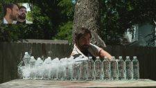 10 Tane Su Şişesini Kesen Samuray Kılıcı