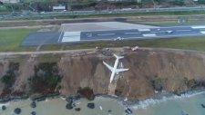 Trabzon'da Pistten Çıkan Uçağın Drone Görüntüsü