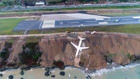 Trabzon'da Pistten Çıkan Uçağın Havadan Görüntüleri