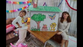 Kartondan Prenses Oyun Evini Boyadık. Yaptığımız Kuşlar Çiçekler Komik Oldu