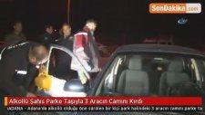 Alkollü Şahıs Parke Taşıyla 3 Aracın Camını Kırdı