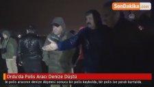 Ordu'da Polis Aracı Denize Düştü