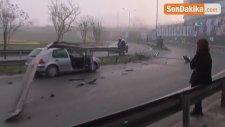 Bağdat Caddesi'nde Feci Kaza! Karşı Şeride Geçen Otomobil, Başka Bir Aracın Üzerinden Uçtu