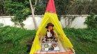 Kovboy Elif Bahçede Piknik Yapıyor.eğlenceli Çocuk Videosu, Oyun Evi Çadır
