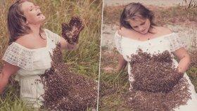 Hamile Kadın 20.000 Arı ile Fotoğraf Çektirdi
