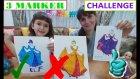 3 Marker Challenge, Disney Prensesler İle, With Dısney Prıncess, Sindirella, Ariel, Rapunzel