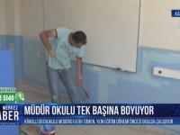 Okulu Tek Başına Boyayan Okul Müdürü