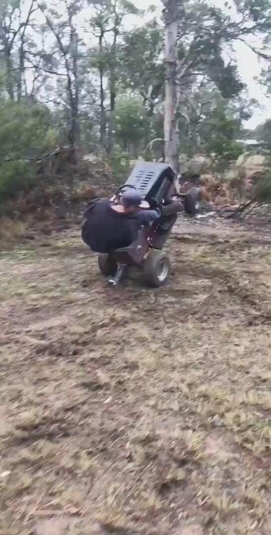 Çim Biçme Makinesiyle Şovunu Sergileyen Bahçıvan